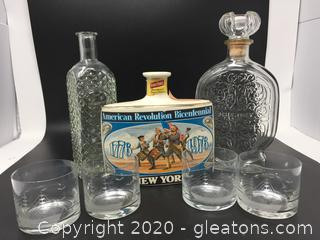 Bicentennial Flask & Decanters with Four Glasses