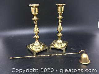 Pair of Solid Brass Candle Holders by CM & Candle Snuffer