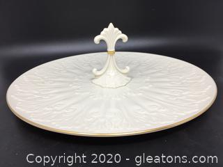 Lenox Decorated Serving Plate with Handle and 24k Gold Trim
