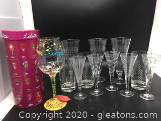 Brand New Lolita 'Congratulations' Wine Goblet & Set of Mikasa Fluted Wine and Juice Glasses