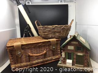 4 Piece Lot with Picnic Basket, Telescope, Round Basket & General Store