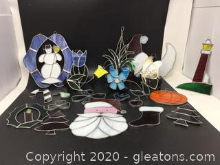 Lot of Stained Glass Hand-Crafted Sun Catchers