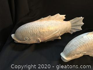 "2 wooden display fish 16"" long"