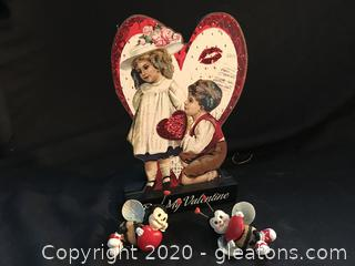 Be my valentine 2 bees and wooden Victorian cutout