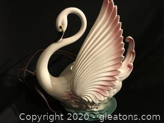 Vintage swan lamp planter from the 50s