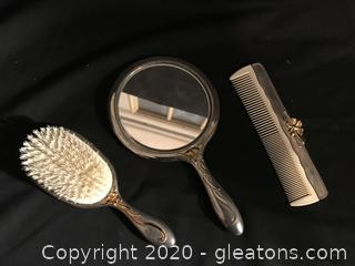 Vintage dresser set mirror, brush and comb