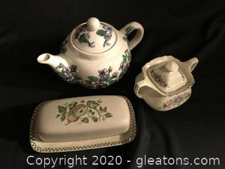 Johnson brothers vintage butter dish, sugar bowl and tea pot