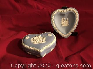 Wedgewood blue jasper ware heart box and dish