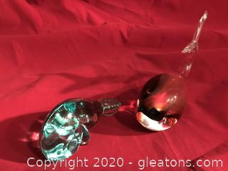 Whale and dolphin glass paper weights