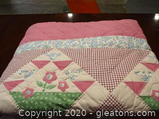 Pink, White, Green, and Blue Quilt
