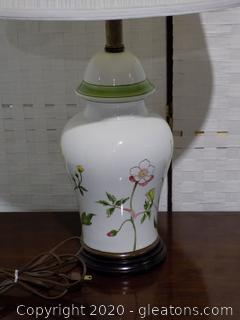 Vintage Porcelain Lamp with Spring Flowers