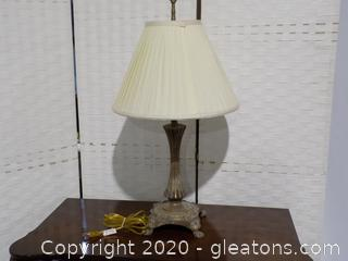 Heavy Metal Lamp with Pleated Shade