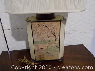 Vintage Hand Painted Ceramic Lamp Featuring Duck Scenes