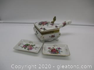 Porcelain Trinket Box with 2 Small Dishes