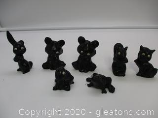Hand Crafted Coal Figurines - 7 Items Lot A