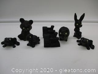 Handcrafted Coal Figurines Lot B