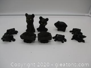 Hand Crafted Coal Figurines Lot D