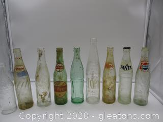 Vintage Cola Bottles -9 Total
