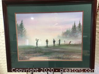 "Vintage Framed ""Golfers Teeing Off"" Signed Print"
