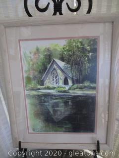 Chapel at Callaway Gardens Original Water Color by Pat Christian