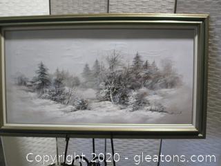 Signed Original Oil - Large Winter Landscape