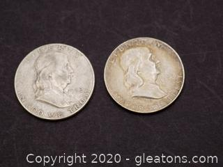 2 1952 Franklin Half Dollars