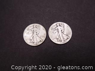 2 1944 Walking Liberty Half Dollars