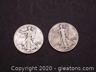 2 1942 Walking Liberty Half Dollars