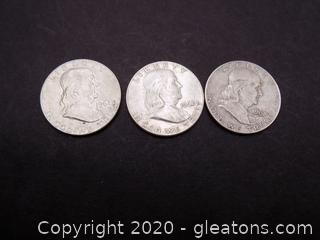 3 1954 Franklin Half Dollars