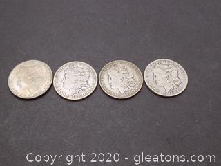 4 Silver Morgan Dollars - Lot A