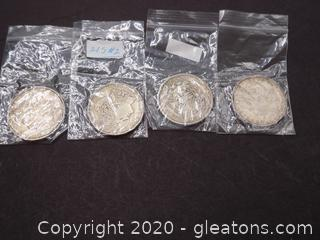 4 Silver Morgan Dollars - Lot B
