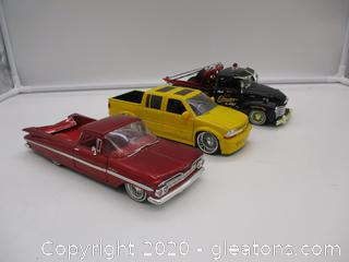 Lot of 3 Collectible Jada 1/24 Scale Trucks