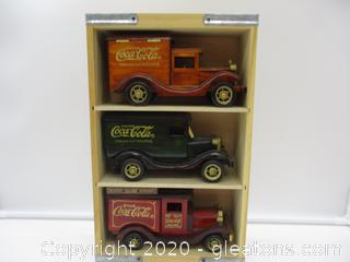Vintage Set of 3 Wooden Coca Cola Delivery Trucks with Wooden Display Case Set A