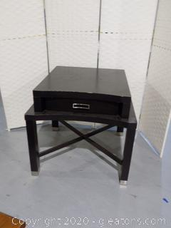 Bernhardt Black Side Table with Drawer