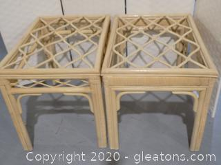 2 Natural Rattan Side Tables