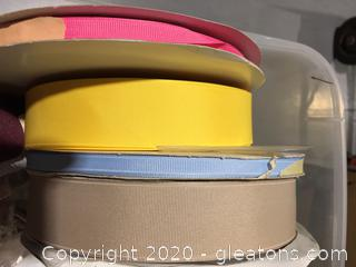 Tub Assorted Ribbon and Sewing Notions