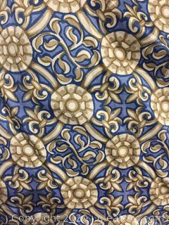 Bolt of Blue & Tan Fabric by Schumacher
