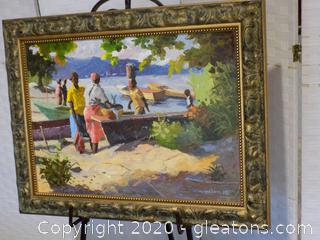 Primitive Tropical Painting by Well Known Jamaican Artist Milton Messam