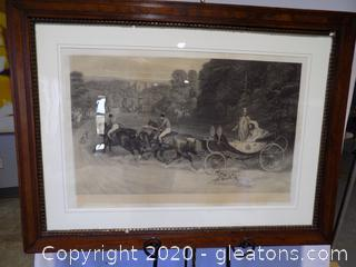 "Print Royal Court ""Home From the Honeymoon"" with Original Frame and Glass"