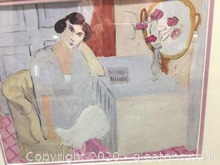 Framed Print of Woman at Vanity