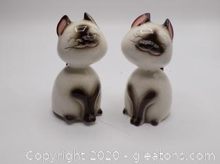 Japanese Poupuri Porcelain Siamese Cats Set of 2