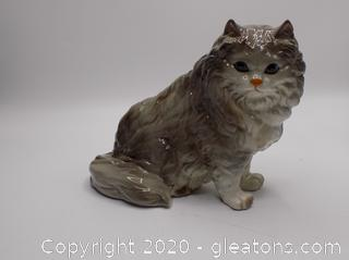 Silver Persian Porcelain Cat