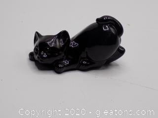 Small Black Porcelain Cat by Fenton