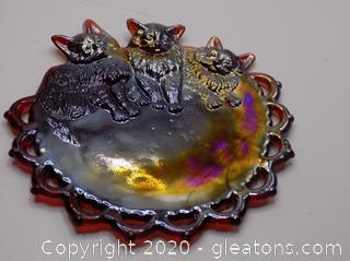 Ruby Red Glass Decoration Cat Plate