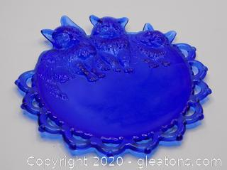 Cobalt Blue Glass Decoration Cat Plate