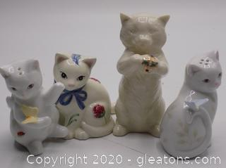 Lot of Lenox Cats Salt & Pepper Shakers