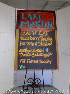 "Fun Original ""Lake Martin"" Sign by Local Artist Donna Loeffler"