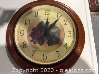 Seth Thomas 'Grapes' Wall Clock