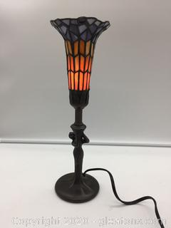 Small Table Lamp with Lady & Stained Glass Trumpet Shade