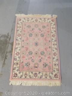 Small Hand Woven Detailed Pink Rug